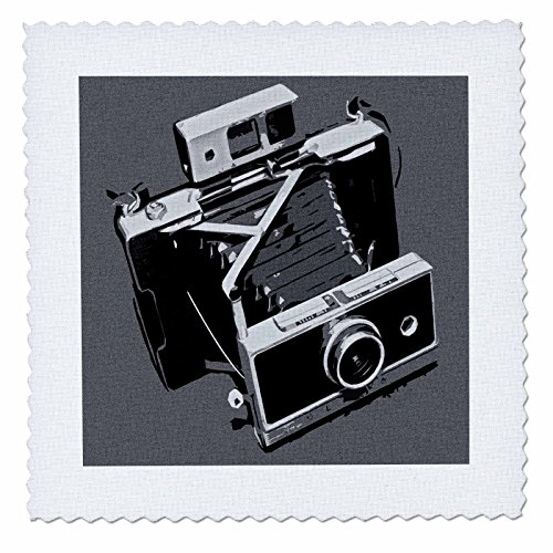 - 3dRose Picture of a Old Vintage Classic Camera with Bellows - Quilt Square, 6 by 6-Inch (qs_20711_2)