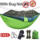 Newly designed hammock with mosquito net provides 360 degree protection against mosquito bites.Double zips and precise hole design are both mosquito repellent and ventilated, hammock bug net will let you feel fresh and give you outdoor personal space...