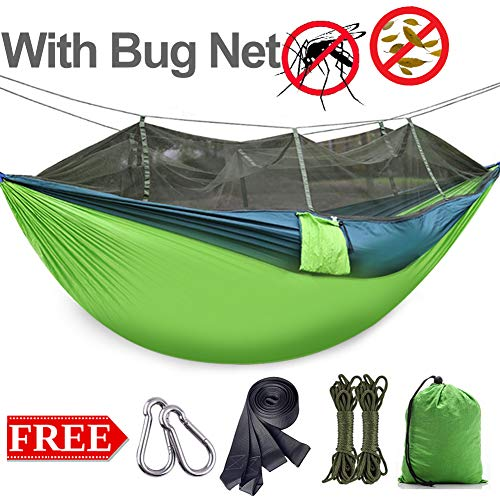 Outdoor Double Camping Hammock with Mosquito Net Hammock Tree Straps Portable Lightweight Backpack Parachute Two Person Hammock for Tree Summer Travel Hiking Large Size 8.7ft x 4.5ft (Green)