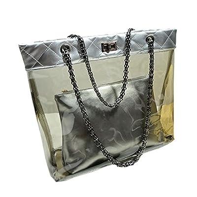 FTSUCQ Womens Casual Chain Clear Tote Swimming Transparent Beach Handbag Trapeze Bags