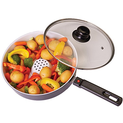 Ceramic Dry Fry Pan Oven Results Stovetop Convenience - Oil/Fat-Free Cooking