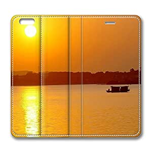 iPhone 6 Leather Case, Personalized Protective Flip Case Cover Beach Scene Sunrise 3 for New iPhone 6