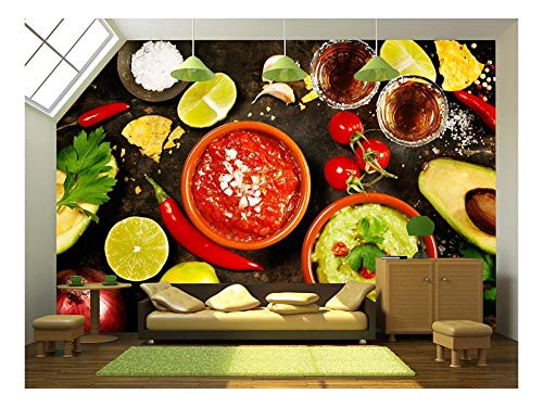 (wall26 - Mexican Food Concept: Tortilla Chips, Guacamole, Salsa, Tequila Shots and Fresh Ingredients - Removable Wall Mural | Self-Adhesive Large Wallpaper - 66x96 inches)