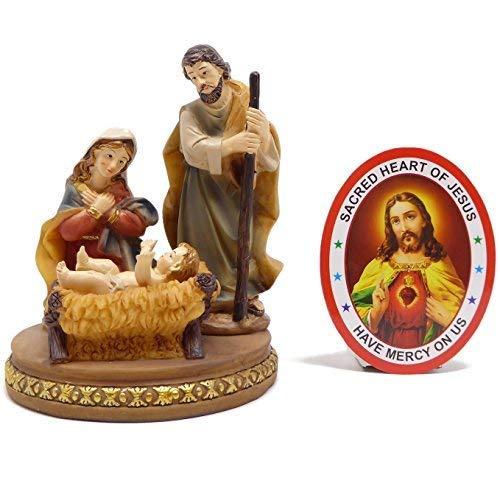 Rosary Heaven Sainte Famille Nativit/é Ensemble Ornement Baby J/ésus 13cm Figurine Autocollant de Fen/être