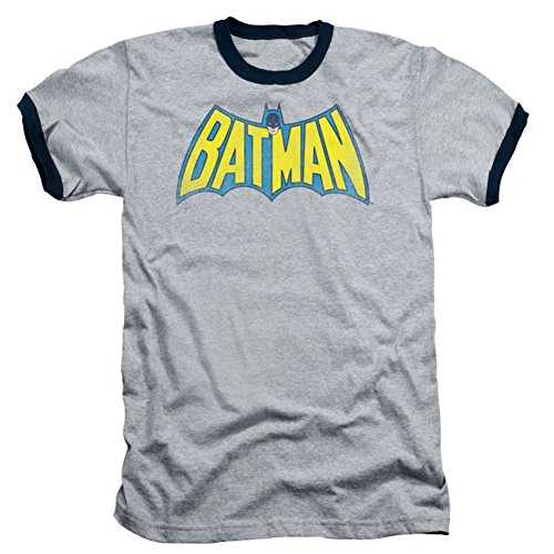 Batman+Retro+Shirts Products : Batman Classic Retro Logo Gray With Black Ringers T-shirt Tee