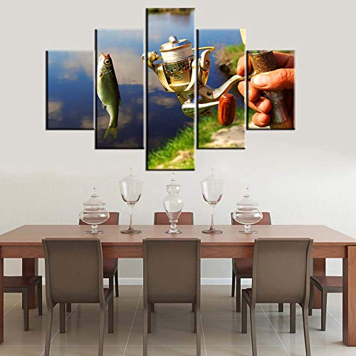 Wall Decorations for Living Room Fish and Angling Tools Pictures River Paintings Multi Panel Prints Canvas Fishing Tackle Wall Art Giclee Modern Artwork Stretched and Framed Ready to Hang(60''Wx40''H)