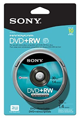 Sony 8cm DVD plus RW Spindle Skin Pack 10 Pack by Sony