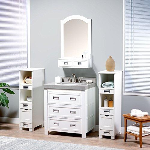 MAYKKE Burton 30 Inch Bathroom Vanity Set in Birch Wood W...