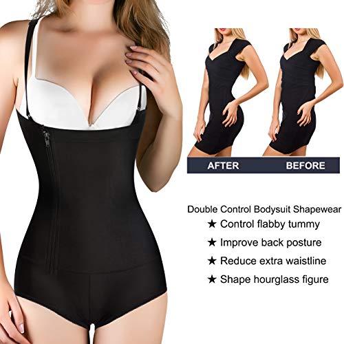 9cd1a3c4a7 Nebility Women Waist Trainer Bodysuit Slim Full Body Zipper Shapewear Latex  Open Bust Corset (S