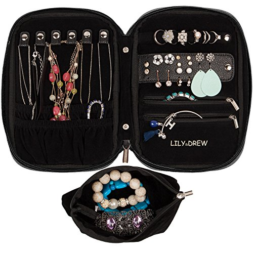 Lily & Drew Travel Jewelry Storage Carrying Case Jewelry Organizer with Removable Pouch (V1 Black)