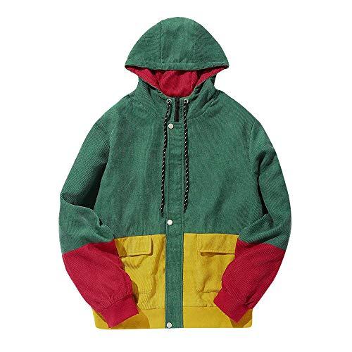 DMZ Men Long Sleeve Corduroy Color Block Patchwork Corduroy Hooded Jacket Overcoat (L, Green) ()