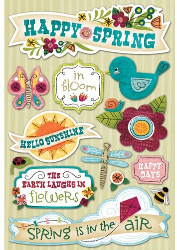Karen Foster Design Acid and Lignin Free Scrapbooking Sticker Sheet, Happy Spring