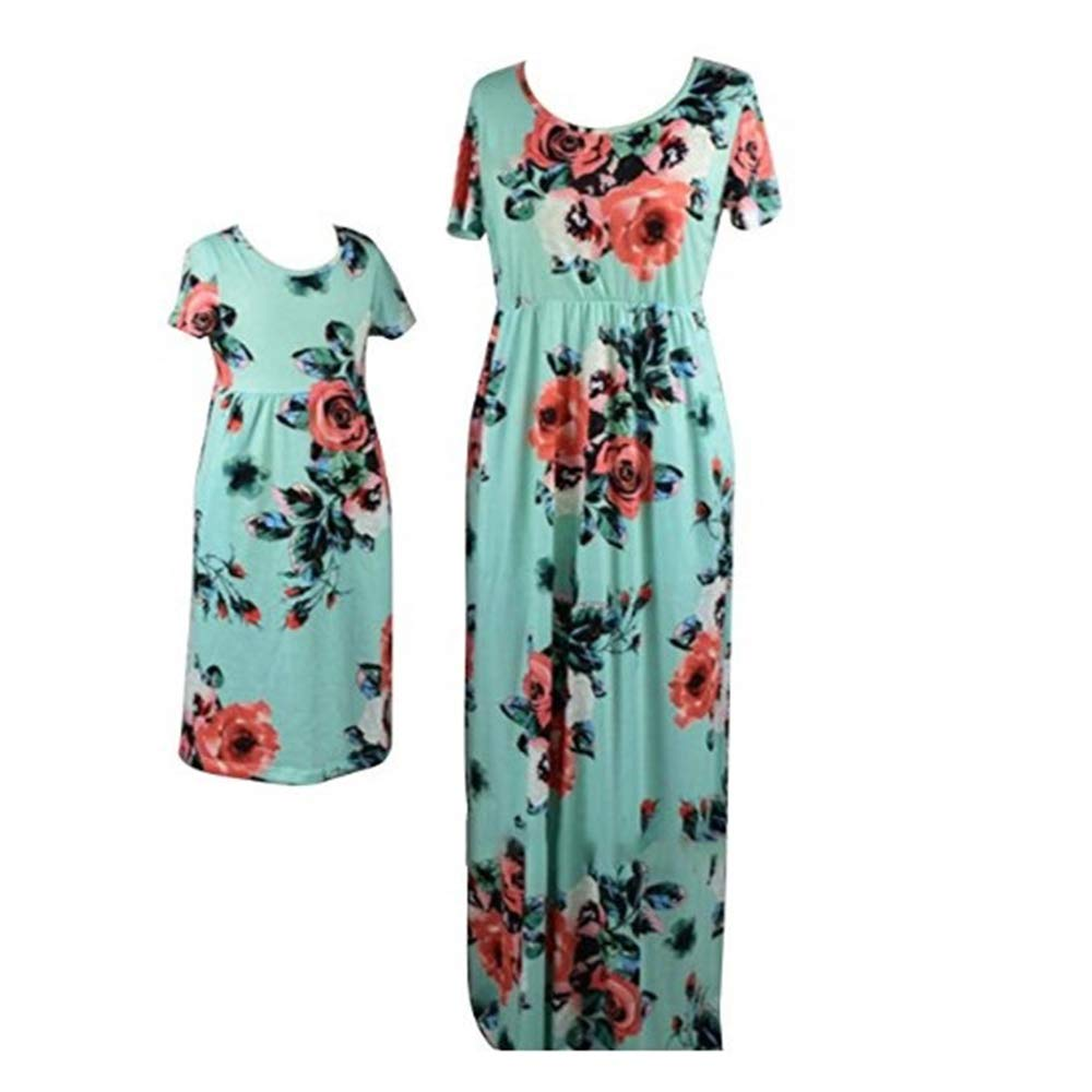Pevor Mommy and Me Floral Printed Bohemia Maxi Long Matching Dresses 12-13T Green