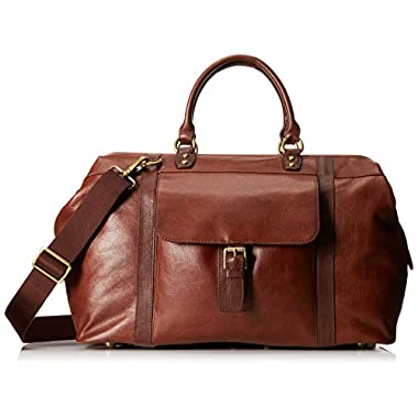 Fossil Men's Estate Leather Framed Duffel, Cognac, One Size