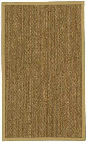 NaturalAreaRugs Mayfair Area Rug Natural Seagrass Hand-Crafted Khaki Wide Canvas Border
