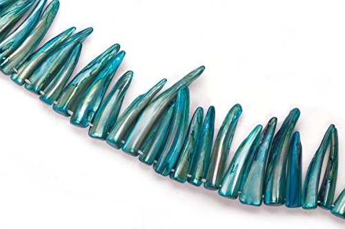 - Sapphire Blue Mother-Of-Pearl Shark Tooth Shell Beads Size:31x8mm