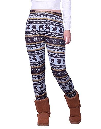 HDE Women's Winter Leggings Warm Fleece Lined Thermal High Waist Patterned Pants,Brown White Reindeers,X-Large (US 16)