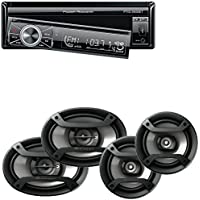 Power Acoustik Single Din AM/FM/DVD/BT 6.2-Inch with Navigation + Pioneer Two Pairs 200W 6.5 + 230W 6x9 Car Audio 4 Ohm Component Speakers