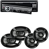 """Power Acoustik 7″ Single Din in-Dash Flip-up AM/FM/DVD/USB Bluetooth + Two Pairs Pioneer Speakers-200W 6.5"""" + 230W 6x9 Car Audio 4 Ohm Component"""