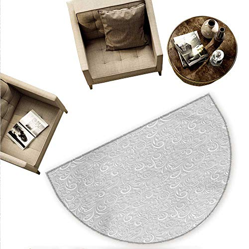 Embossing Pebbles - Grey Half Round Door mats Classic Floral Swirling and Curving Victorian Pattern Embossing Effect Branches Art Graphic Bathroom Mat H 74.8