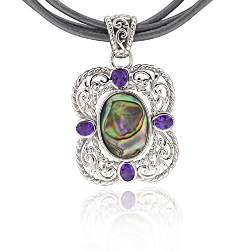 Sterling Silver Oval Abalone Shell & Amethyst Pendant Necklace 18