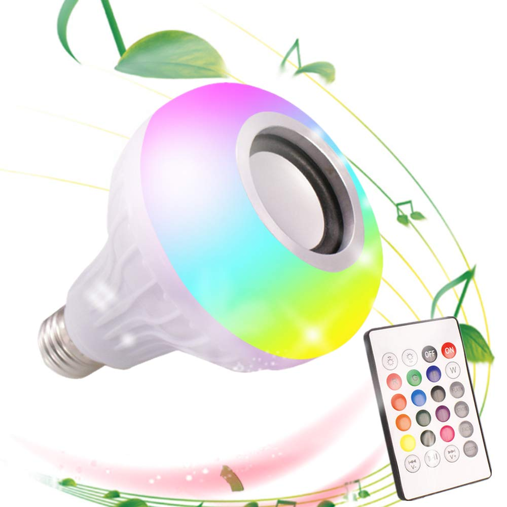 24 DGRENA LED Music Bulb with Bluetooth Speaker,E27,12W RGB Colorful Color Conversion lamp Key Remote Control Switch,Color Remote Control for Party,Manufacturing Atmosphere Wireless Stereo Sound