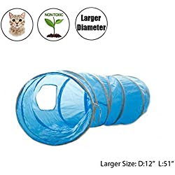"PAWZ Road New Upgraded Larger Cat Tunnel Cat Toys Collapsible Tube, 12"" Diameter Blue"