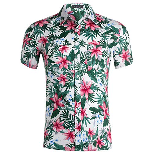 YOcheerful Men's Summer Tops Casual Fashion 3D Color Print Trend Color Short-Sleeved Shirts Button Down Blouses(White, XL)