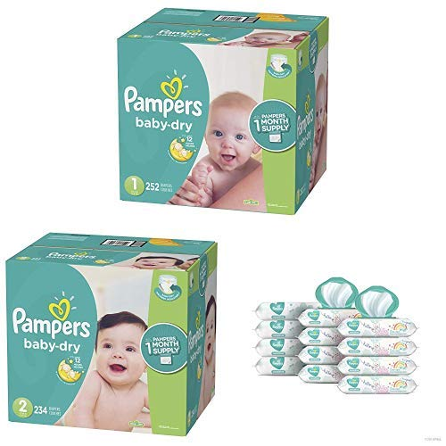 Pampers Bundle - Baby Dry Disposable Baby Diapers Sizes 1, 252 Count & 2, 232 Count with Pampers Sensitive Water-Based Baby Wipes, 12 Pop-Top and Refill Combo Packs, 864 Count