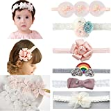 DANMY Baby Girl Super Stretchy Headband Big Lace Petals Flower Newborn Hair Band (flower1 (8pcs))