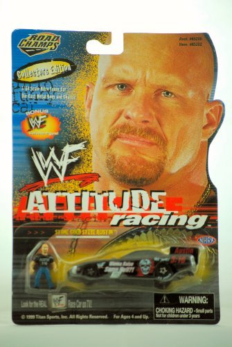 WWF / WWe - 1999 - Jakks - Road Champs - Attitude Racing - Stone Cold Steve Austin Funny Car - NHRA - w/ Bonus Collector Figure - 1:64 Scale - Die Cast Metal - Rare - New - Limited Edition - Collectible ()
