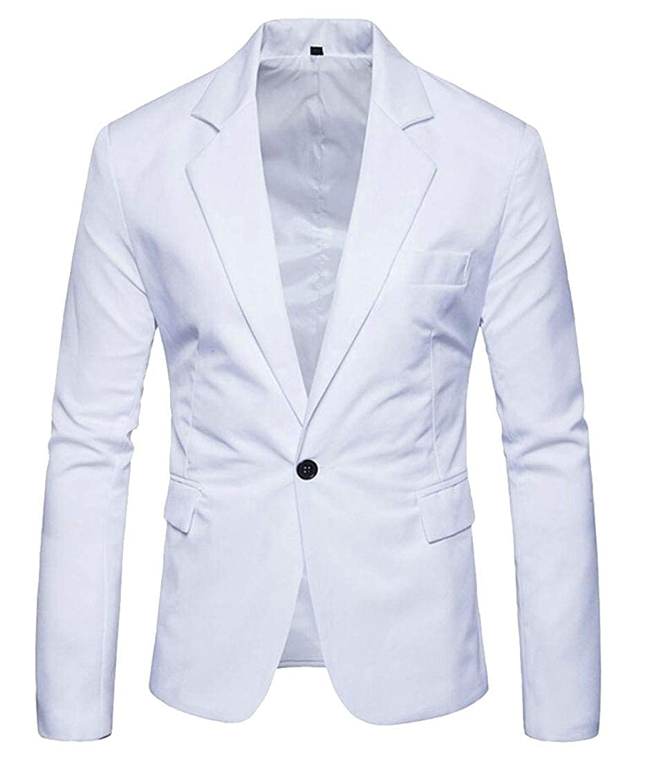 Alion Mens Slim Fit Solid Color 1-Button Leisure Peaked Lapel Suit Blazer Jackets