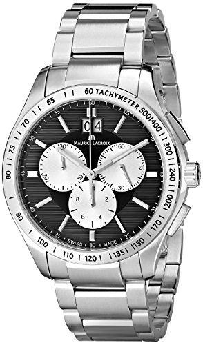 """Maurice Lacroix Men's MI1028-SS002-332 """"Miros"""" Stainless Steel Watch"""