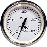 Faria Beede Instruments 33818 4 in. Chesapeake White Stainless Steel Tachometer - 4,000 RPM