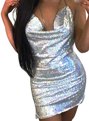 Jaycargogo Womens Dos Nu Dos Nu Paillettes Club Moulante Argentée Mini-robe