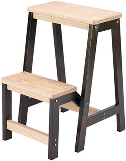 OhLt-j Taburete plegable, Escalera for taburetes Escalera gruesa de dos escalones Escalera for silla plegable Silla multifuncional Silla de madera maciza for el hogar (Color: Marrón, Tamaño: 19 * 47 *: Amazon.es: Hogar
