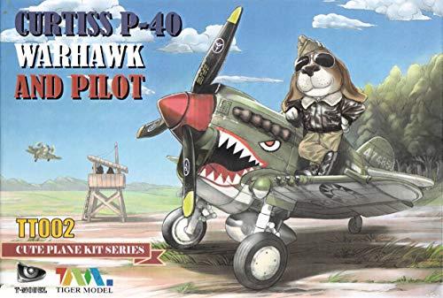 - ティーモデル キュートファイターシリーズ P-40ウォーホーク with 犬パイロットフィギュア プラモデル TMOTT002 / TIGTT002 Tiger Model Cute Plane Series - Curtiss P-40 Warhawk and Pilot [Model Building KIT]