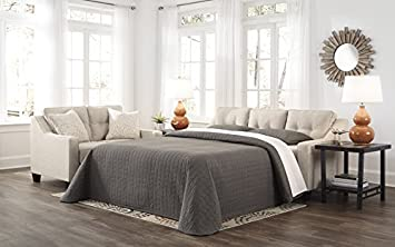Benchcraft – Aldie Nuvella Contemporary Sofa Chaise Sleeper – Queen Size Mattress Included – Sand