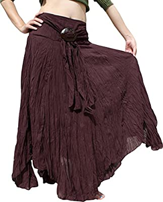 Raan Pah Muang Brand Wild Light Cotton Gypsy Pixie Dancing Long Skirt Coconut Buckle