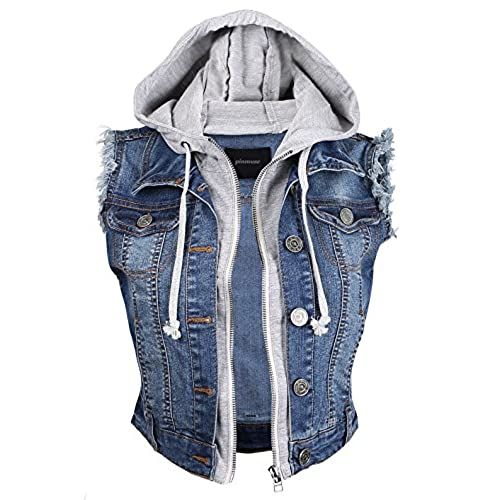 Women's Denim Vest Stretchy Nice Stone Washed W Hand sanding S M L 1XL 2XL  3XL HoodMedium S