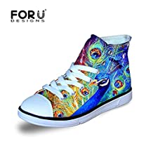 FOR U DESIGNS Cute Cat Puppy Tiger Wolf Animal High Top Lace Up Casual Little Kids Canvas Shoes Sneakers