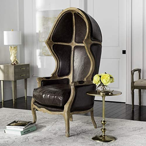 Safavieh Home Collection Sabine Victorian Brown Leather Balloon Chair