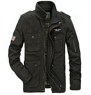 JYG Men's Casual Military Windbreaker Jacket Cotton Stand Collar Field Coat Outerwear