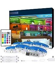 RGB Under Cabinet Lighting, 6 PCS x 19.6In LED Strip Lights, 5050 LEDs Color Changing Lights with Remote and Power Supply, Home Decor Mood Lighting kit DIY Kitchen, Cupboard, Desk, TV, Shelf
