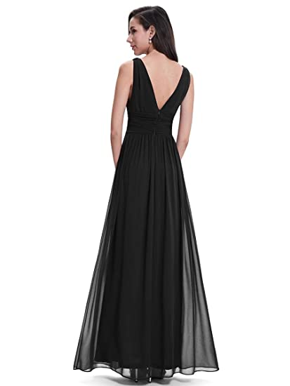 Sleeveless V-Neck Semi-Formal Maxi Evening Dress