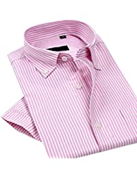 ARRIVE GUIDE Mens Casual Stripe Oxford Short Sleeve Business Shirts