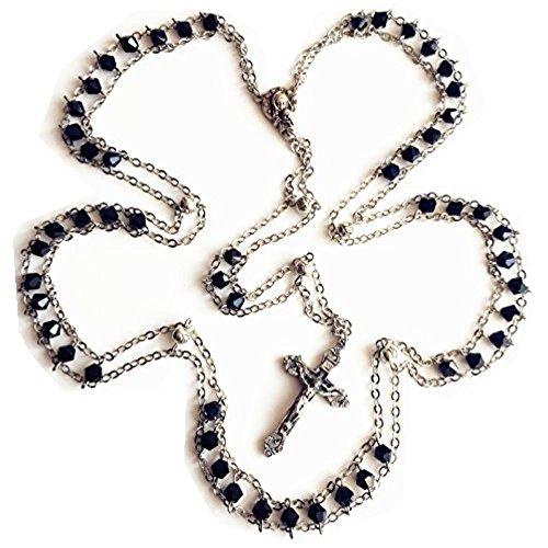 elegantmedical Handmade Ladder to Heaven Black Crystal Beads Catholic Rosary Cross Crucifix Necklace
