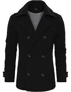 TAM WARE Mens Stylish Wool Blend Pea Coat