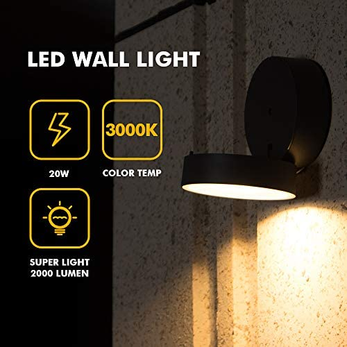 LUTEC Trumpet Indoor Outdoor Modern LED Wall Light Fixtures Decor Adjustable 20W Warm White 3000K 2000LM Exterior Light Fixtures Wall Mount lamp