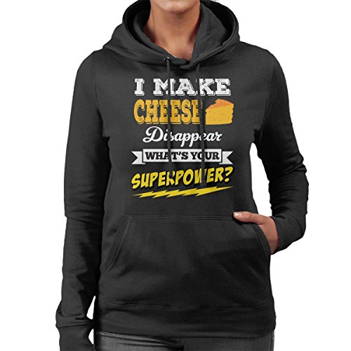Make Make Make Whats Sweatshirt I Superpower Your Hooded Hooded Hooded Black Cheese Disappear Women's Hf6UnZ76